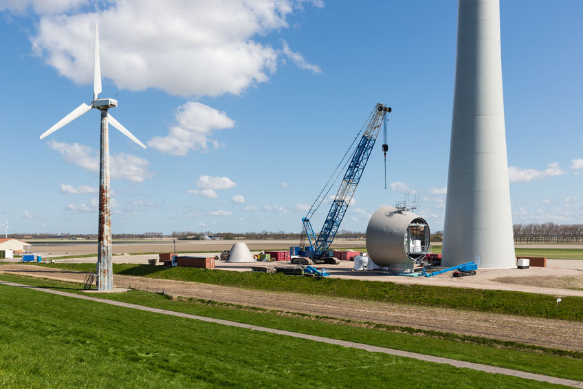 Wind farm repowering with higher tower
